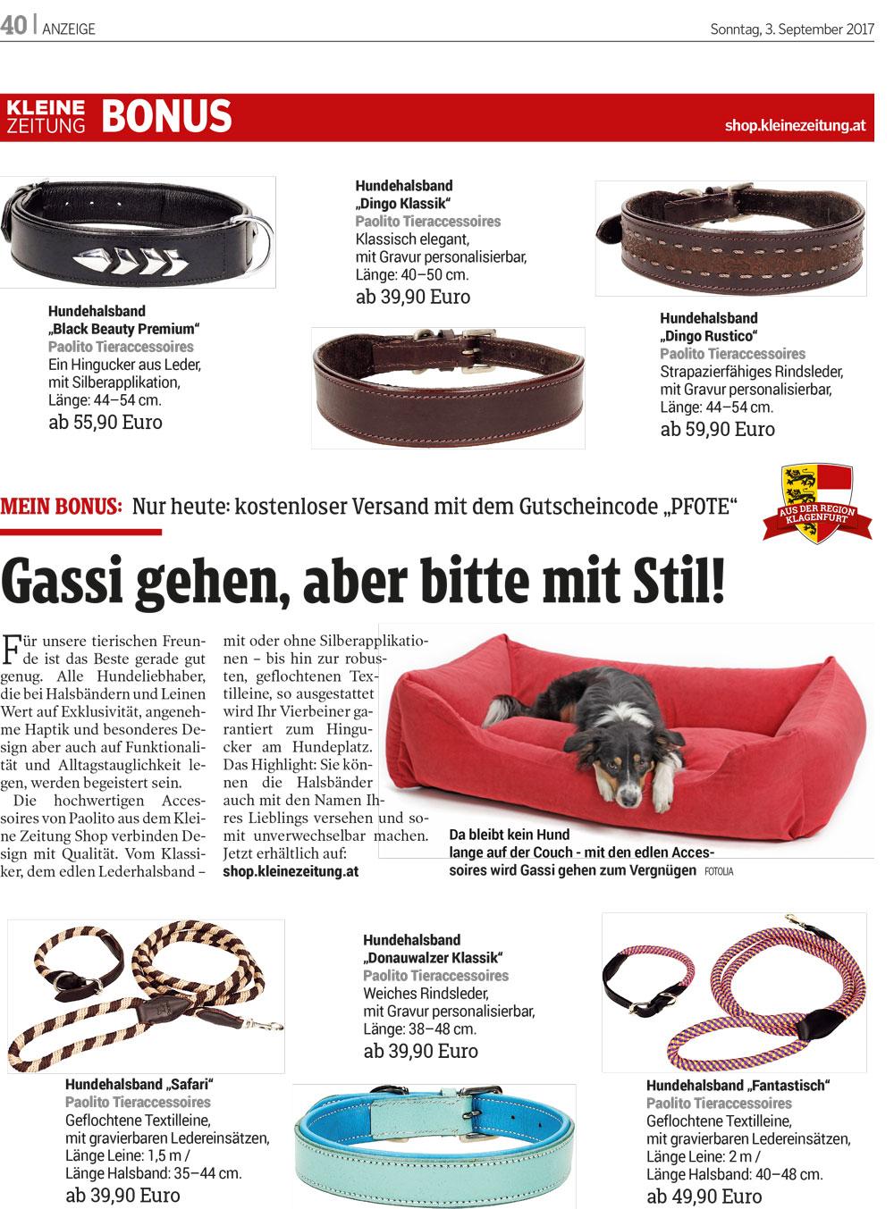 Produkte von Paolito in der Kleinen Zeitung